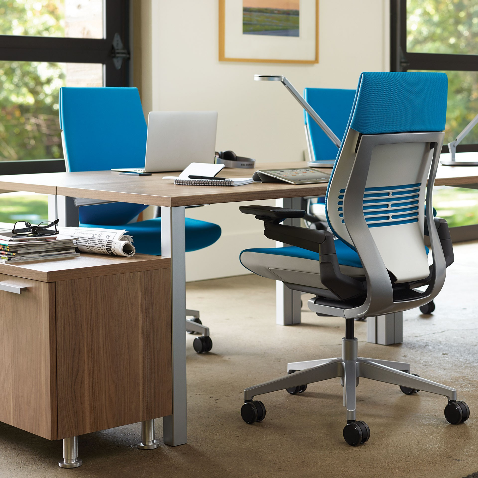 steelcase gesture office chair with wrapped back and lightlight color scheme and blue jay - Light Blue Desk Chair